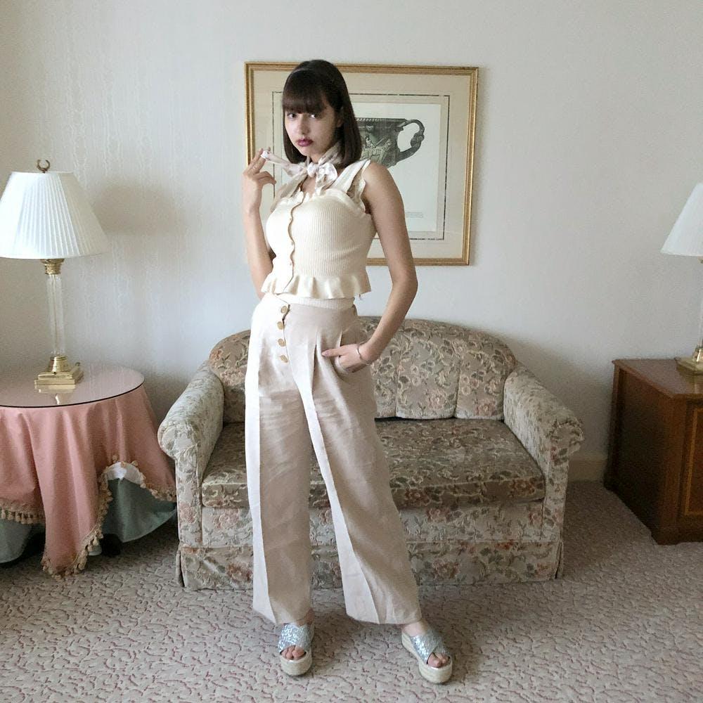 【5/21~順次発送】high waist wide pants-0