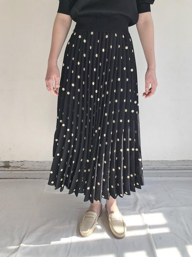 pleated dot skirt-0