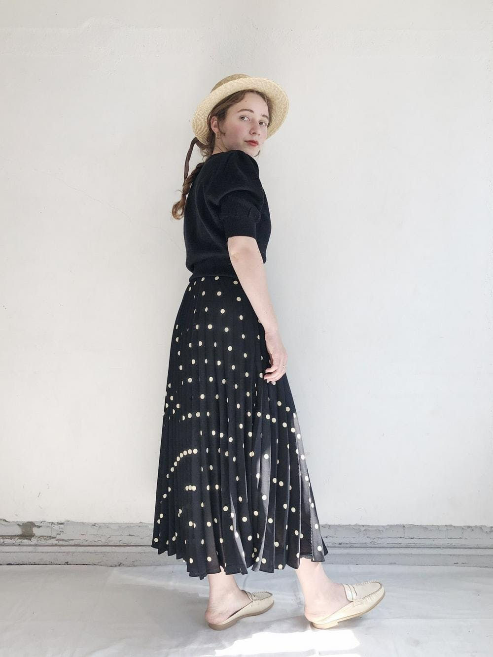 pleated dot skirt