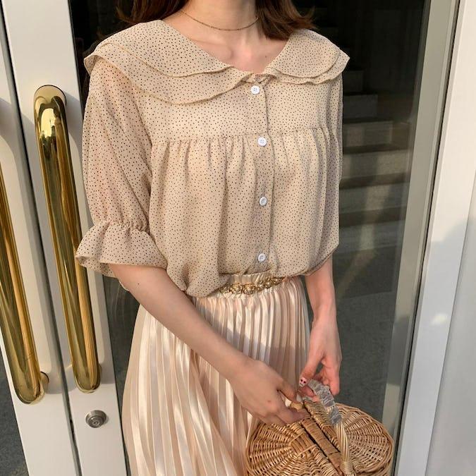 chiffon dot blouse