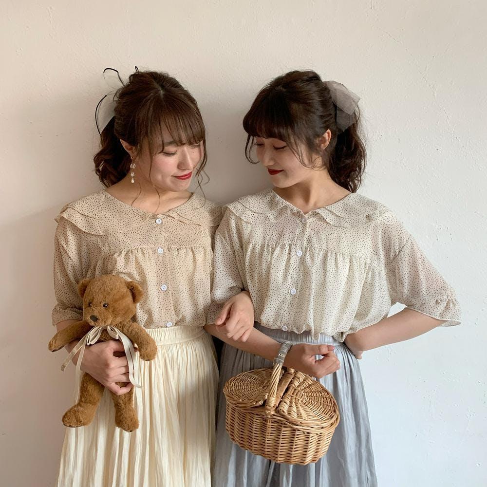 【5/21~順次発送】chiffon dot blouse