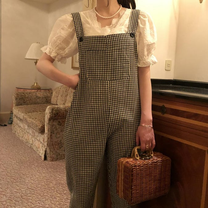 gingham check salopette