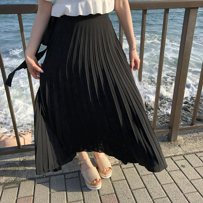 pleats ribbon rap skirt