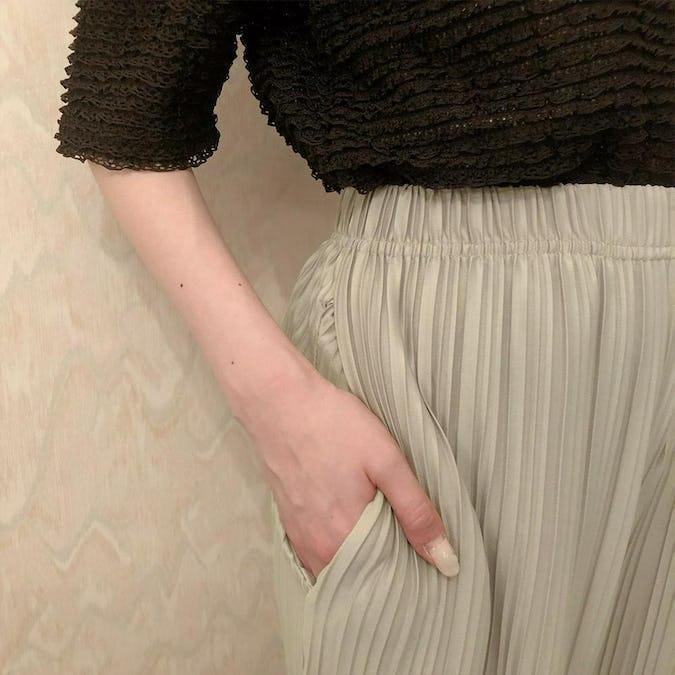 shiny wide pants