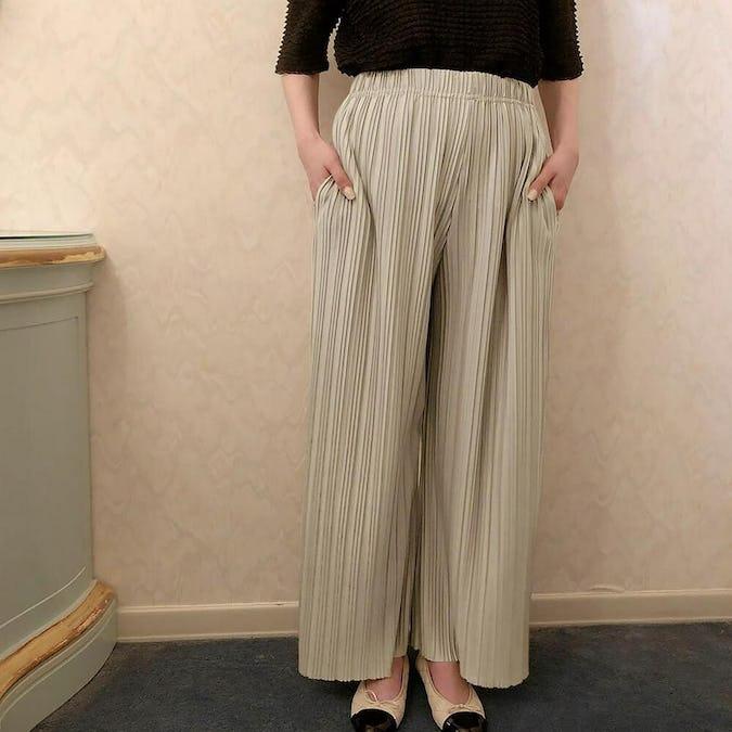shiny wide pants-0