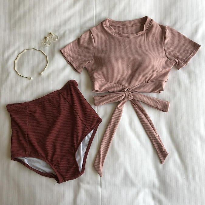 rib knit ribbon bikini-0