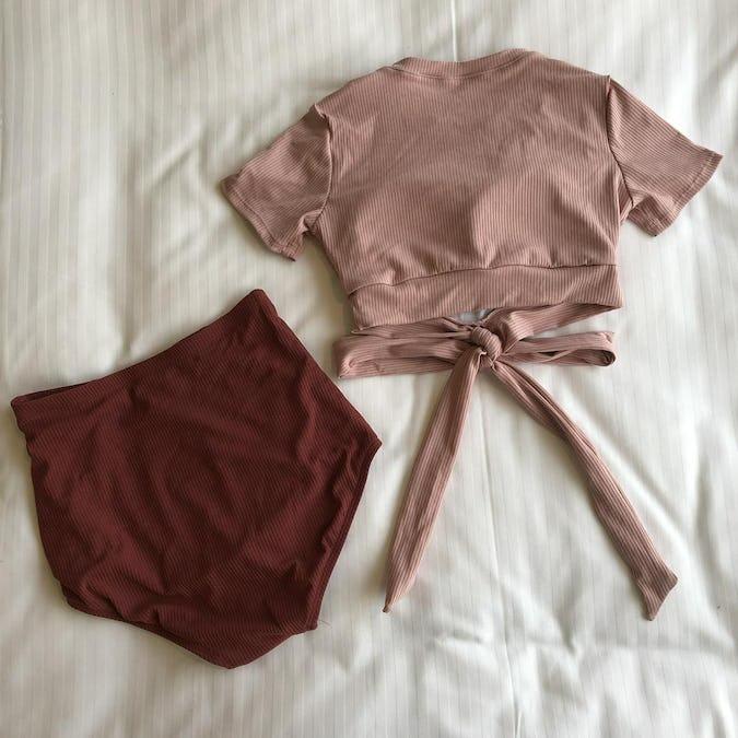 rib knit ribbon bikini