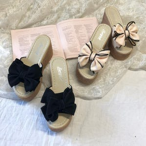 ribbon wedge sandle