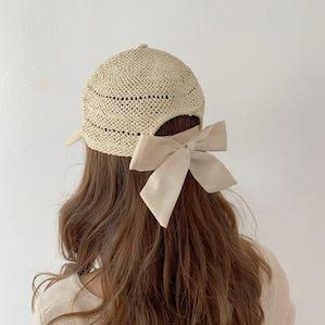 back ribbon summer cap