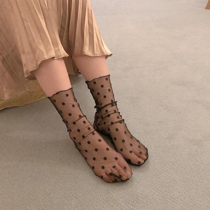 dot tulle socks-0