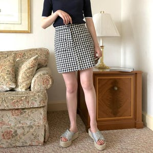 double pocket gingham skirt