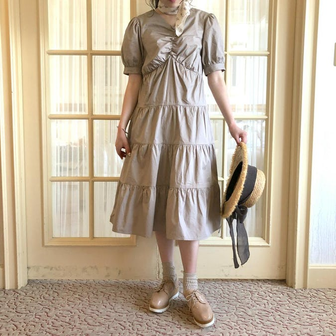 【felicità】puff sleeve V tiered onepiece-0