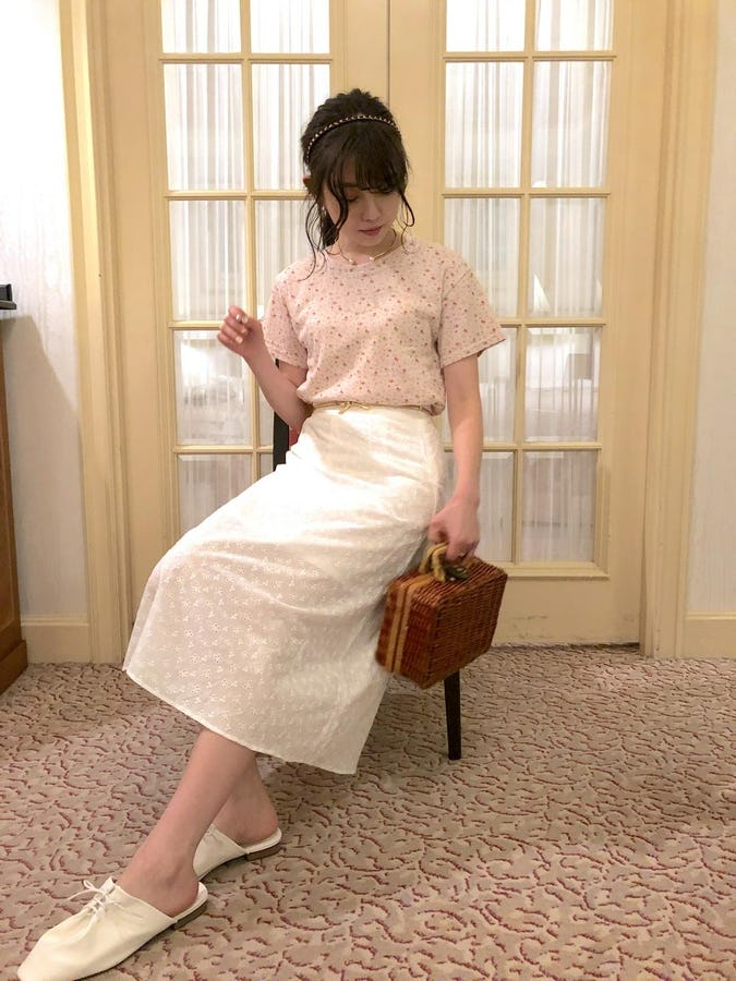 cotton flower A line skirt