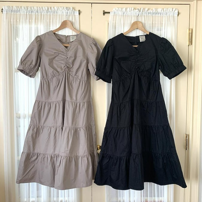 【felicità】puff sleeve V tiered onepiece