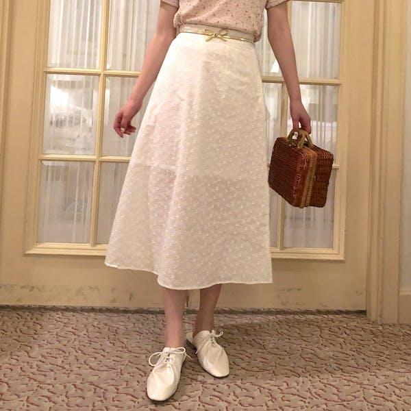 コットンフラワーAラインスカートの画像1枚目