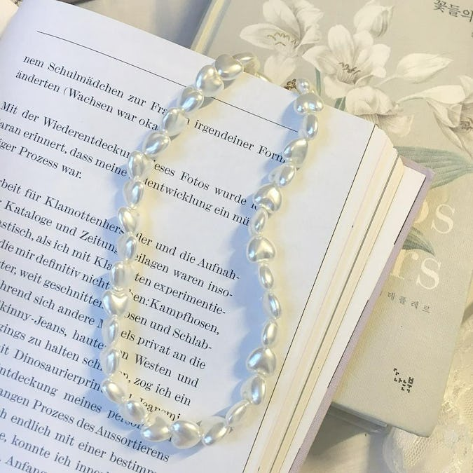 heart pearl necklace-0