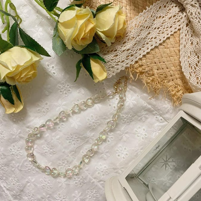 heart clear necklace