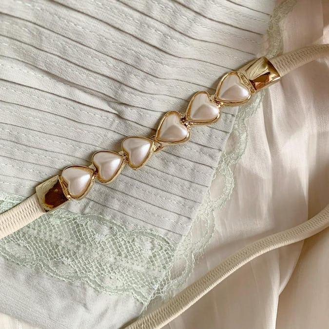 pearl heart belt