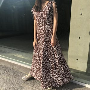 flower dot long dress