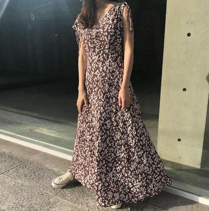 フラワードットロングドレス-0
