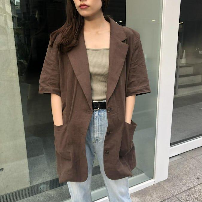 short sleeve linen jacket-0