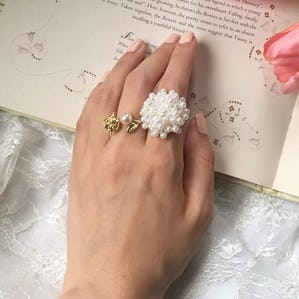 pearl bouquet ring set