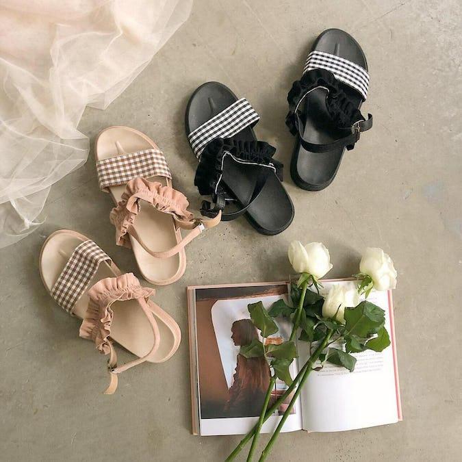 gingham & frill sandal-0