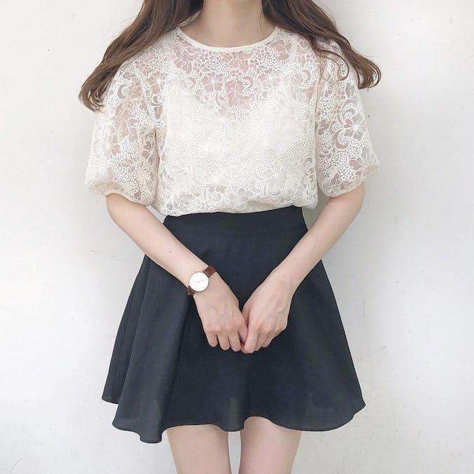 flower lace blouse-0