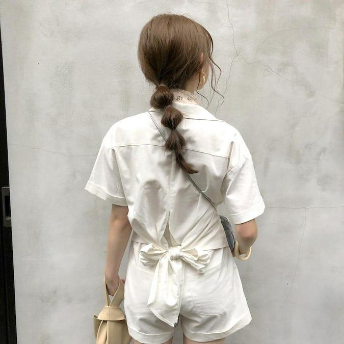 【felicità】felicità back ribbon shirt set up