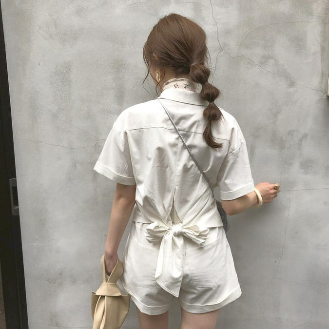 【felicità】felicità back ribbon shirt set up-0