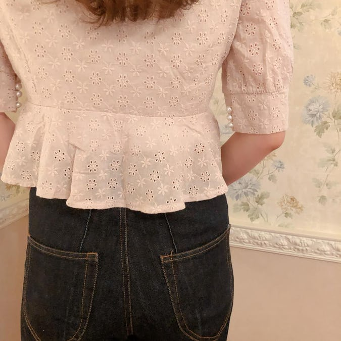 cotton puchi flower blouse