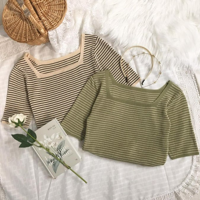 square neck knit T-0