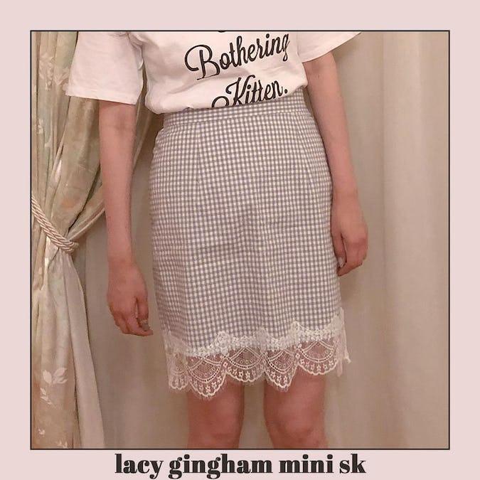 lacy gingham mini sk-0
