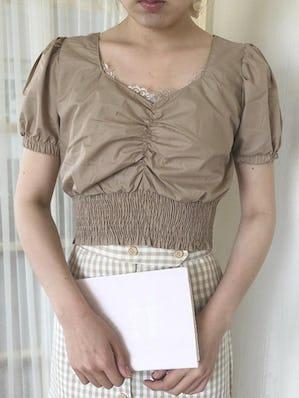 short shirring blouse