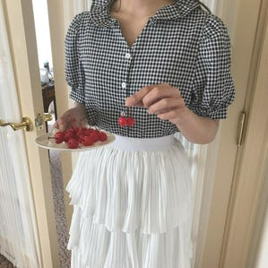 frill gingham blouse