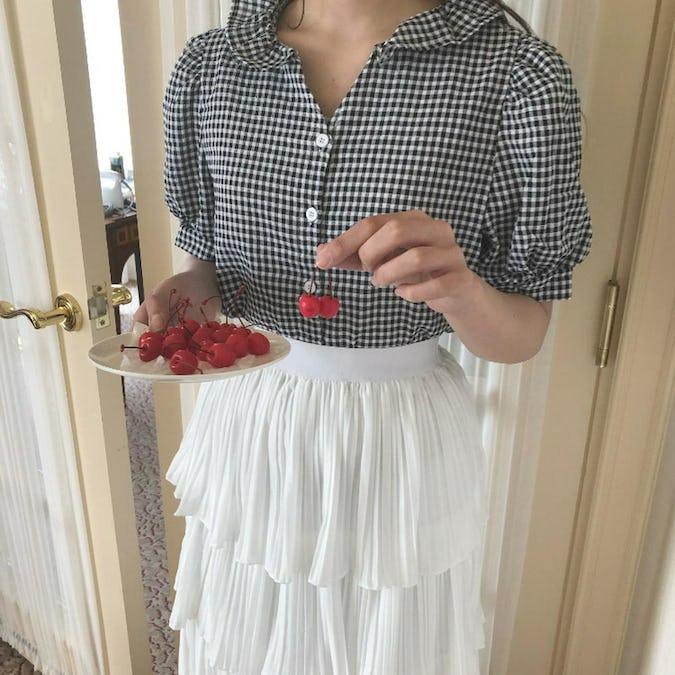 frill gingham blouse-0