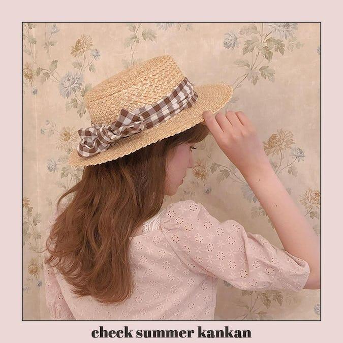 チェックサマーカンカン帽-0