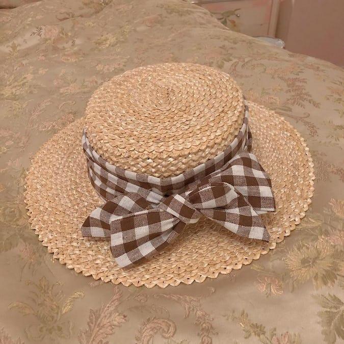 チェックサマーカンカン帽