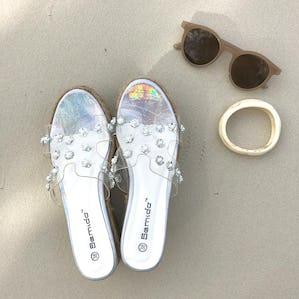 flower clear  platform sandal