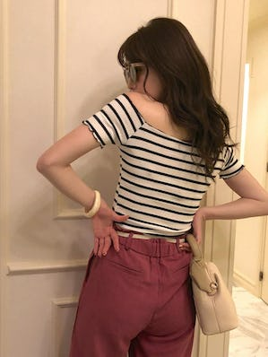 3way mellow frill striped T