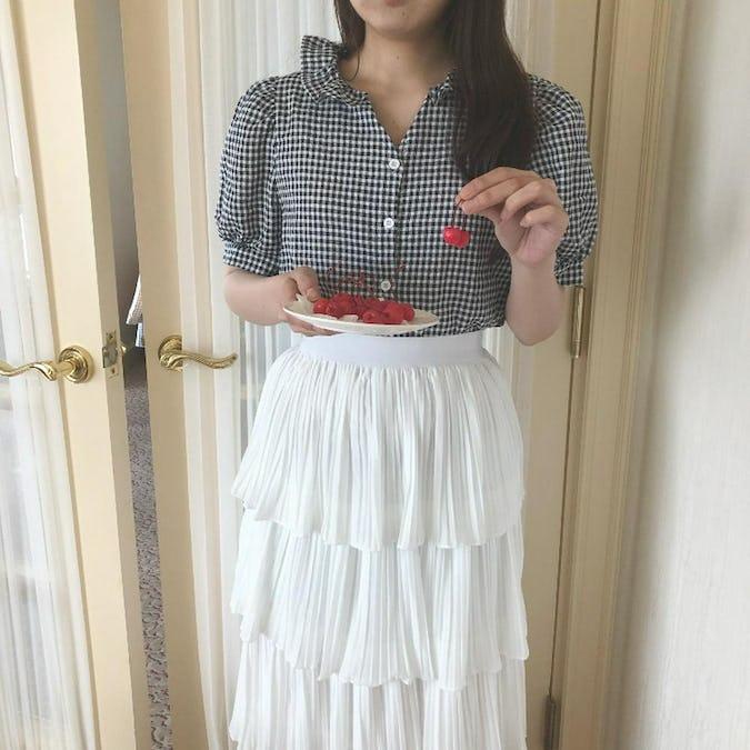 frill gingham blouse