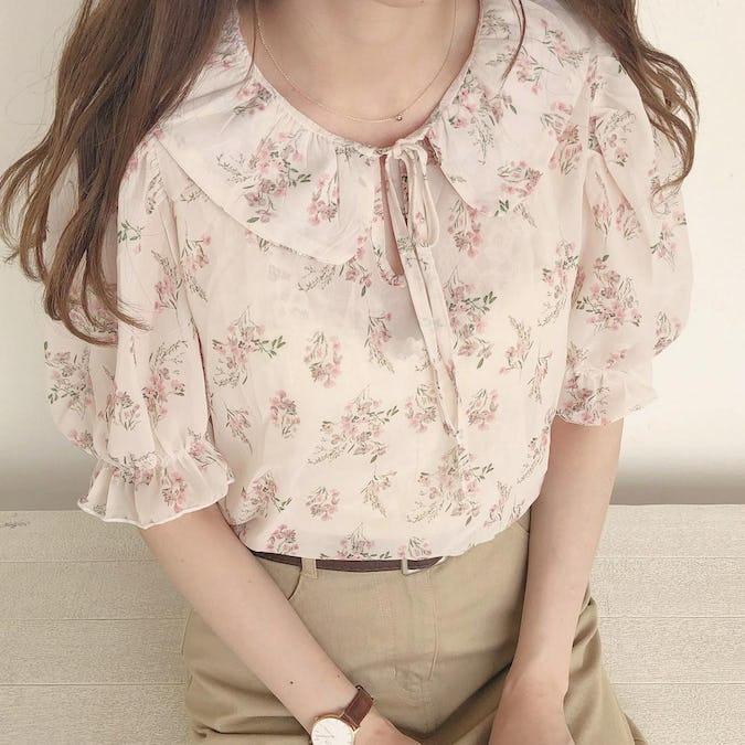 ribbon flower blouse-0