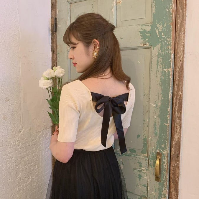 senaka ribbon knit T-0