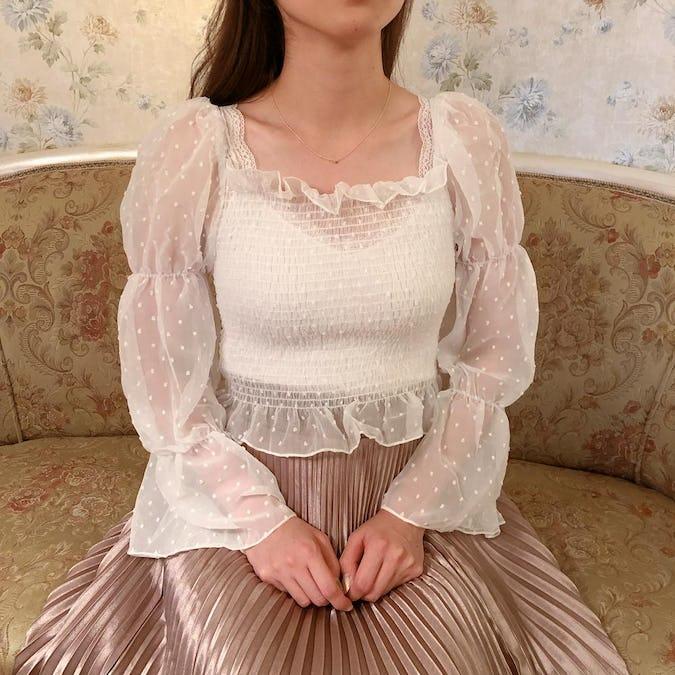 2way mermaid dot blouse-0