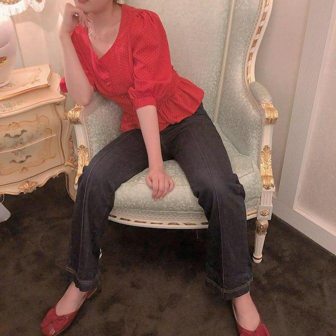 dot back ribbon blouse-0