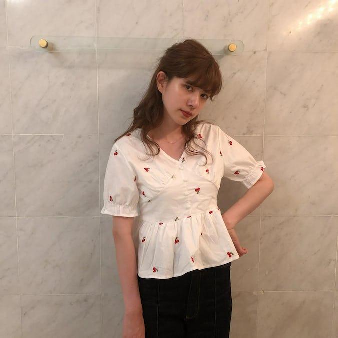 cherry peplum blouse-0