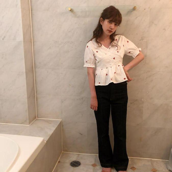 cherry peplum blouse