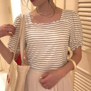 square frill stripe tops