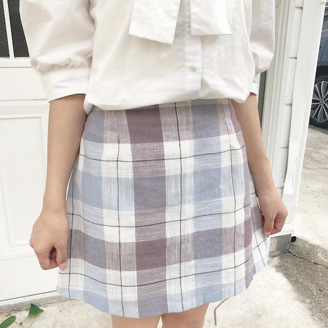 blue check skirt-0
