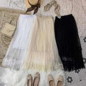 dot lace long tulle sk